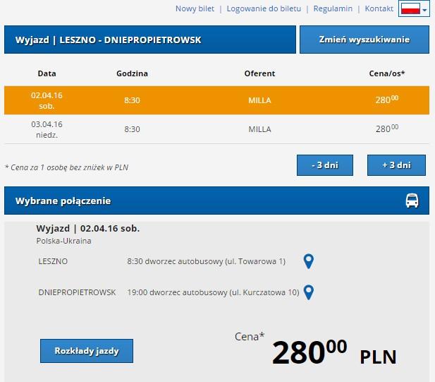 Tanie bilety autokarowe Milla Polska Ukraina